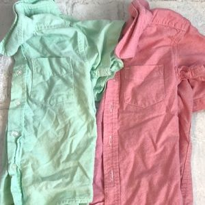 Lot of 2 Toddler Boy Button-Down Tee Dress Shirts